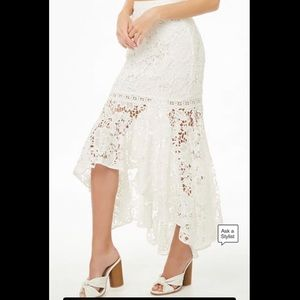 Lulus Floral Lace High-Low Mermaid Skirt